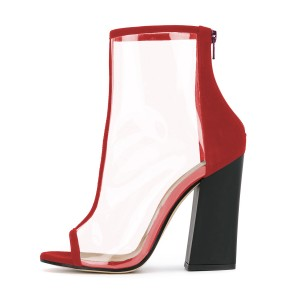 Women's Red Transparent Peep Toe Heels Ankle Chunky Heel Boots