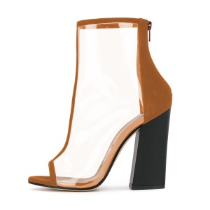 Women's Brown Transparent Peep Toe Ankle Chunky Heel Boots