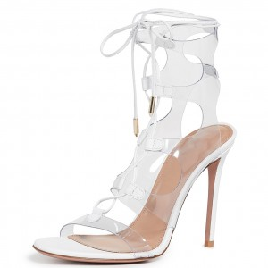 White Clear Heels PVC Lace Up Stiletto Heel Sandals