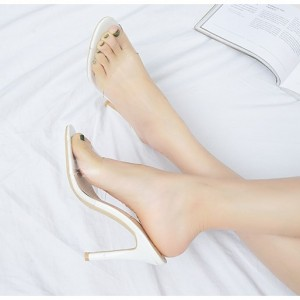 White Clear Heels Peep Toe Stiletto Heels Mules Sandals for Women