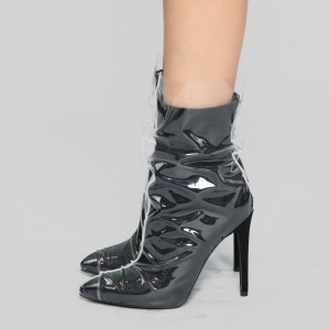 Clear PVC Wrapped Black Pointy Toe Stiletto Boots