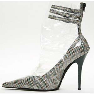 Clear Wrapped Plaid Pointy Toe Stiletto Heel Ankle Strap Heels Pumps