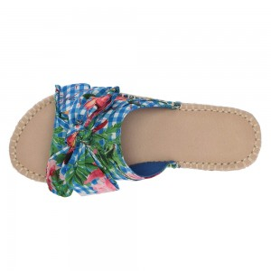 Colorful Floral Bow Plaid Women's Slide Sandals