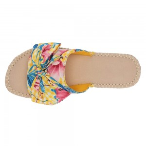 Colorful Open Toe Floral Bow Plaid Women's Slide Sandals