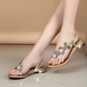 Colorful Rhinestone Summer Sandals Open Toe Flat Shoes US Size 3-15
