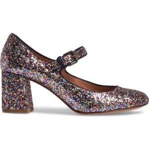 Colors Glitter Block Heels Round Toe Mary Jane Pumps