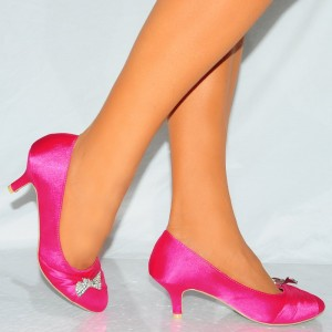 Pink Wedding Shoes Satin Almond Toe Stilettos Rhinestone Bow Pumps