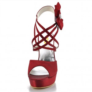 Burgundy Evening Shoes Satin Peep Toe Stiletto Heels Sandals
