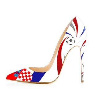 Croatia Design Pointy Toe Stiletto Heels Pumps for Football Lover
