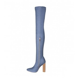Women's Blue Pointy Toe Chunky Heel Over-The- Knee Denim Boots