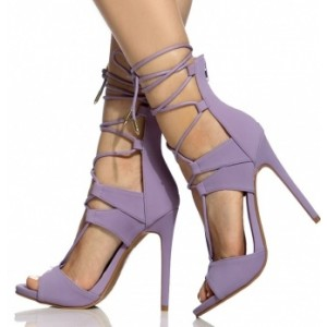 Women's Lavender Lace Up Strapped  Sandals Stiletto Heels
