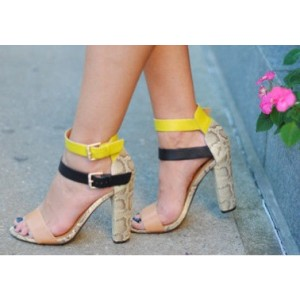 Multi-color Block Heel Sandals Ankle Strap Python Shoes