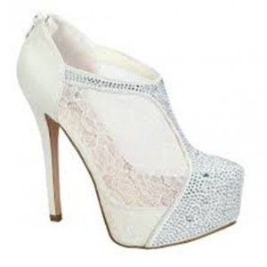 White Lace Stiletto Heel Wedding Ankle Booties