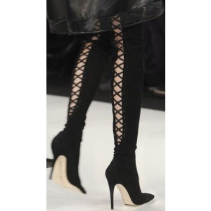 Women's Black Suede Over-The-Knee Boots