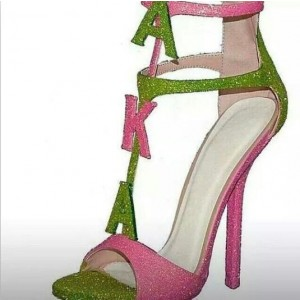 Custom Made Pink and Green Glitter T Strap Sandals