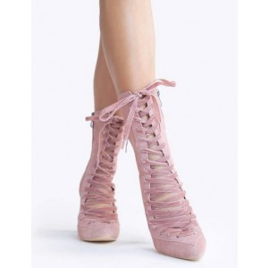 Custom Made Pink Suede Lace up Booties