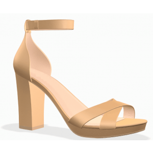 Custom Made Nude Chunky Heel Ankle Strap Sandals