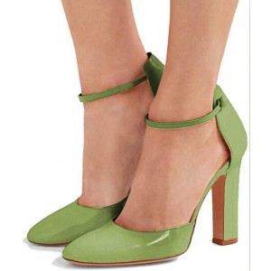 Custom Made Green Ankle Strap Chunky Heel Pumps