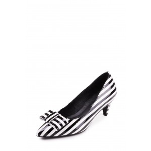 Custom Made Black and White Stripes Kitten Heel Pumps