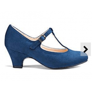 Custom Made Blue Low Heel T Strap Pumps