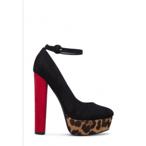 Custom Made Black and Leopard Ankle Strap Pumps