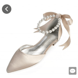 Custom Made Pointy Toe Ankle Strap Wedding Flats
