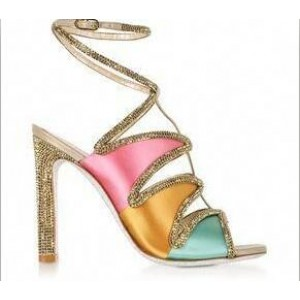 Custom Made Multicolor Rhinestone Lined Lace up Sandals