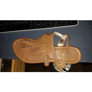 Custom Made Tan Fringe Thong Sandals