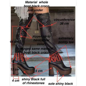Custom Made Black Platform Long Boots