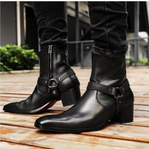 Custom Made Black Low Heel Fashion Ankle Boots
