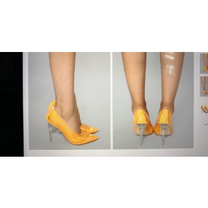 Custom Made Yellow Clear Pumps