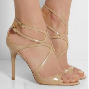 Custom Made Nude Patent Leather Strappy Sandals