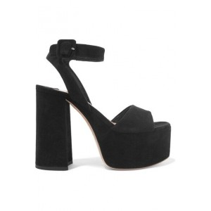 Custom Made Black Suede Platform Chunky Heel Ankle Strap Sandals