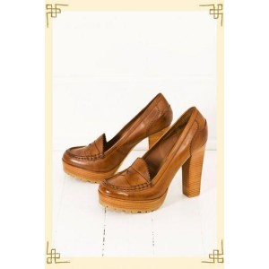 Custom Made Tan Vintage Heeled Loafers