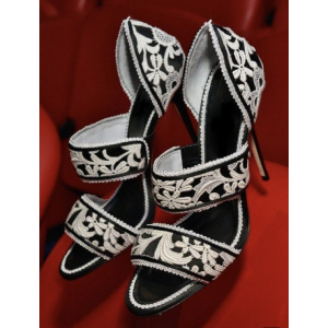 Custom Made Black and White Lace Heels