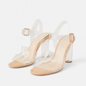 Custom Made Nude Suede and PVC Clear Heels