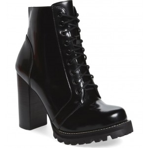 Custom Made Lace up Chunky Heel Ankle Boots in Black