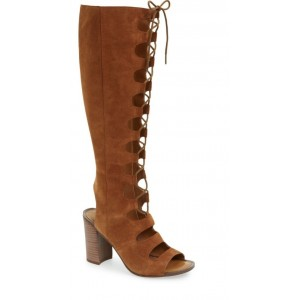Custom Made Tan Block Heel Gladiator Boots