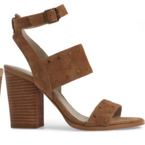 Custom Made Tan Ankle Strap Block Heel Studs Sandals