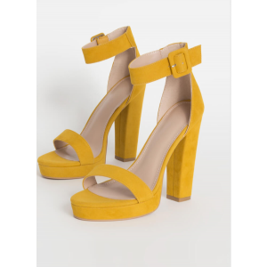 Custom Made Mustard Suede Chunky Heel Ankle Strap Sandals