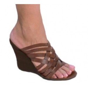 Custom Made Brown Open Toe Wedge Sandals