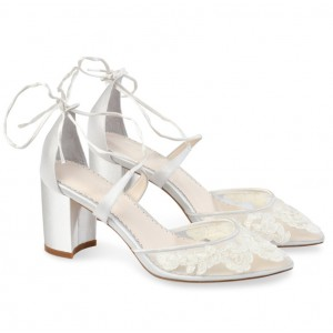 Custom Made White Closed Toe Block Heel Wedding Shoes