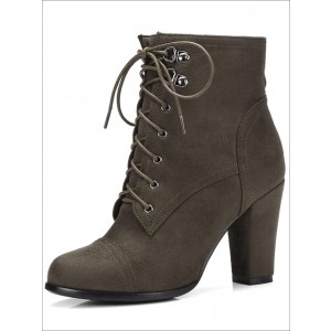 Custom Made Suede Lace up Ankle Boots