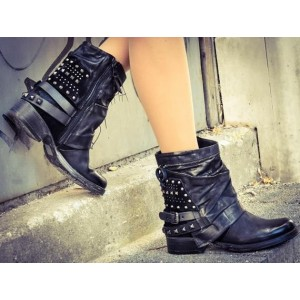 Custom Made Black Studs Ankle Boots