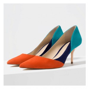 Women's Orange and Blue Suede Office Heels Pointed Toe Pumps