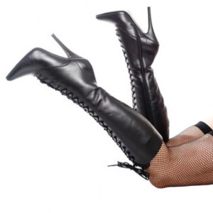 Custom Made Black Front Lace up Pointy Toe Calf Length Boots
