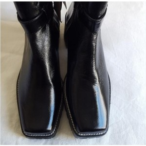 Custom Made Black Square Toe Ankle Boots