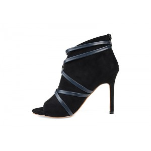 Custom Made Black Suede and Navy Strap Peep Toe Ankle Booties