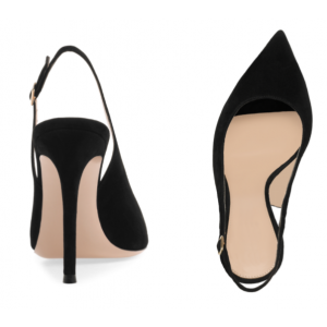 Custom Made Black Suede Slingback Pumps