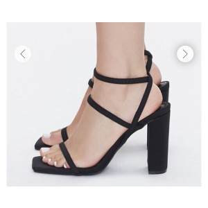 Custom Made Black Suede Strappy Chunky Heel Sandals